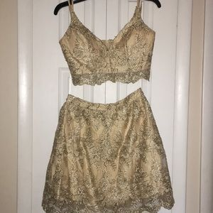 Two piece gold homecoming dress
